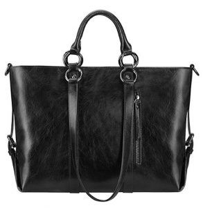 S-ZONE Women's 3-Way Genuine Leather Work Tote