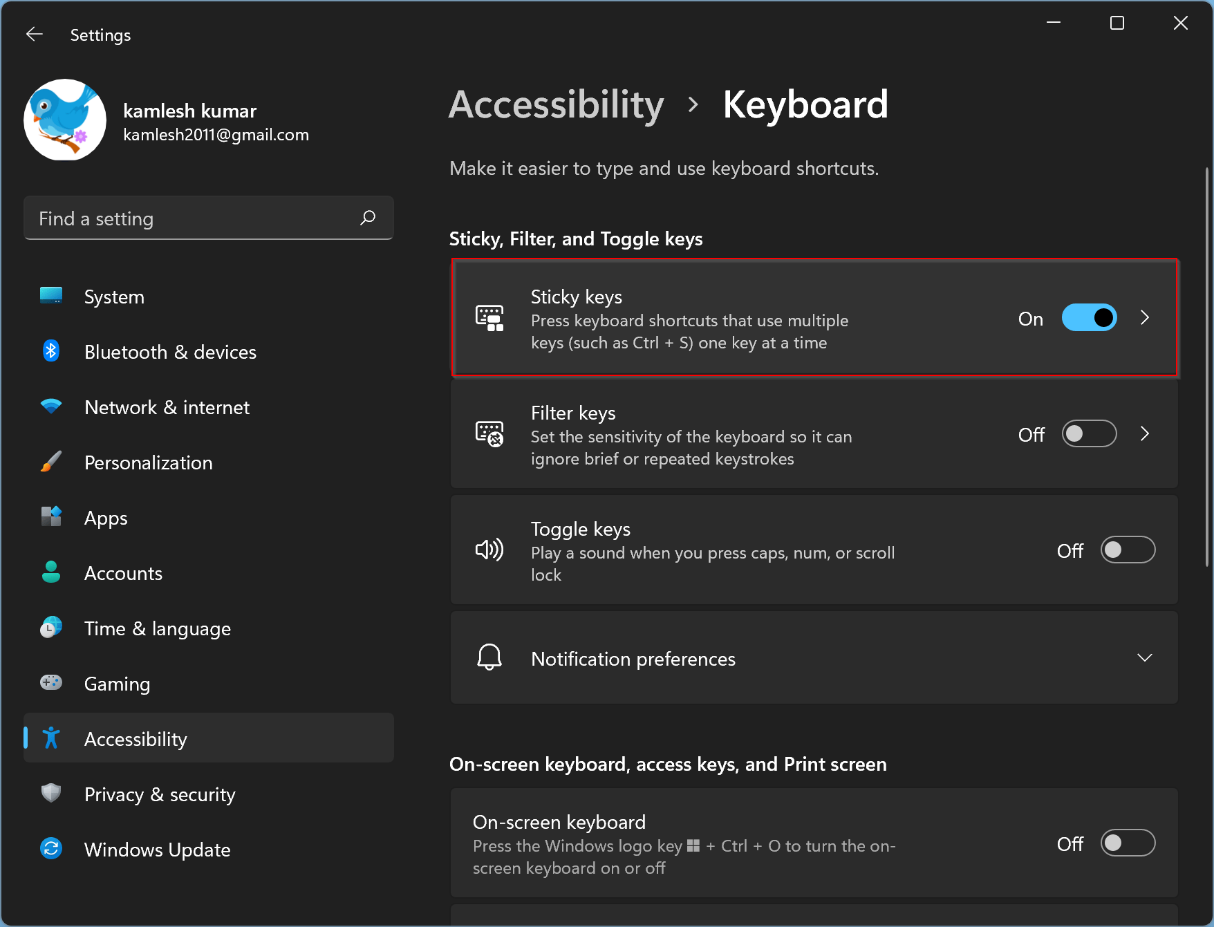 How to Turn On on Off Sticky Keys in Windows 11?