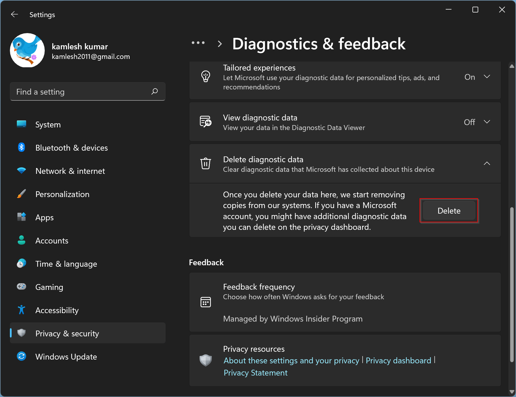 How to Disable App Diagnostics in Windows 11?