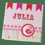 roze geboortekaart meisje