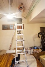 Sanding the ceiling paint
