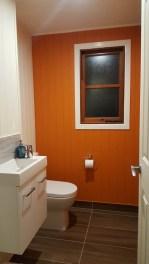 Burnt orange toilet wall