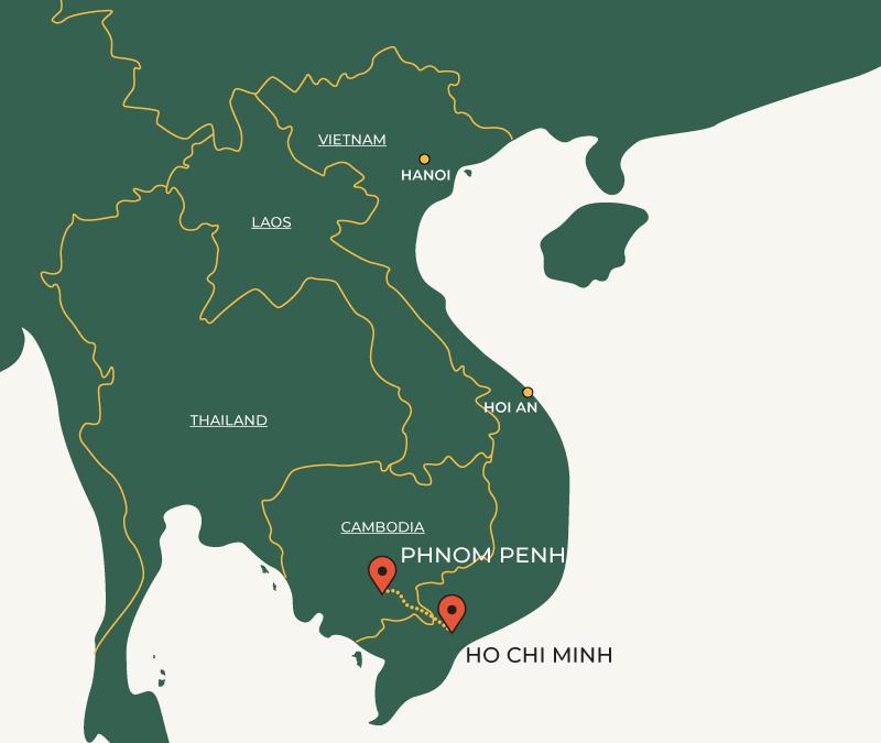 Phnom Penh to Ho Chi Minh travelroute