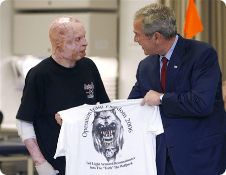 Bush and veteran burn victim
