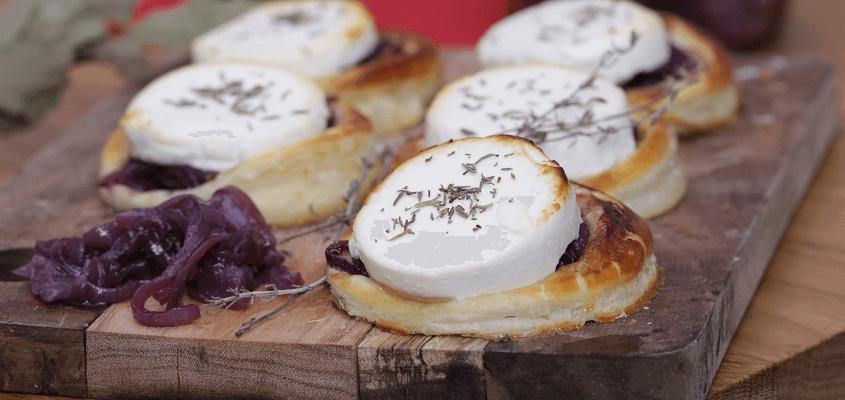 Butterdejssnacks med gedeost