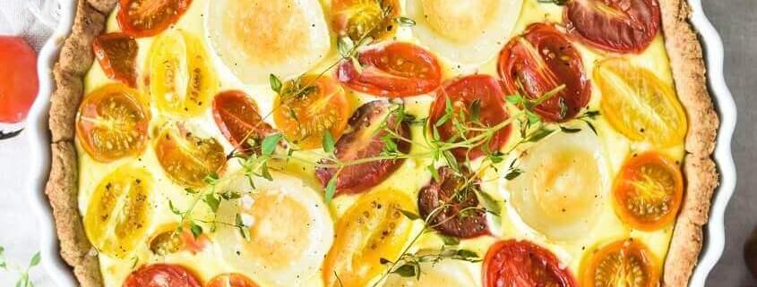 Tomattærte med gedeost og ricotta