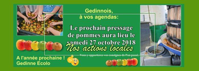 Prochain pressage de vos pommes: le 27 octobre 2018