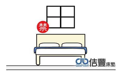 床頭上有窗戶