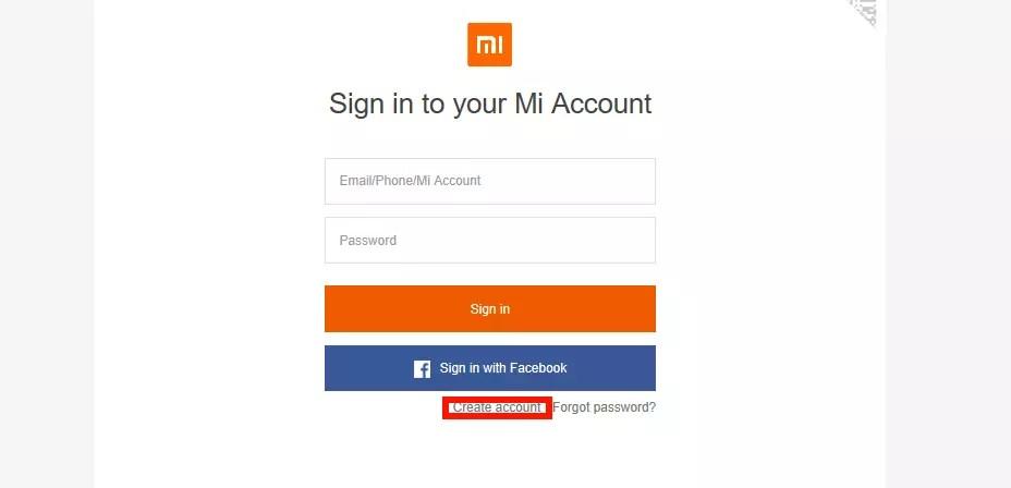 Регистрация Mi аккаунта через ПК