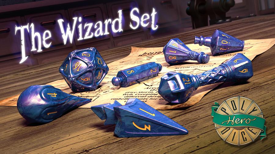 PolyHero Dice – Wizard Set, dadi magici su Kickstarter