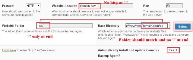 Comcure database backup agent
