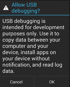 USB Debugging Warning Moto G