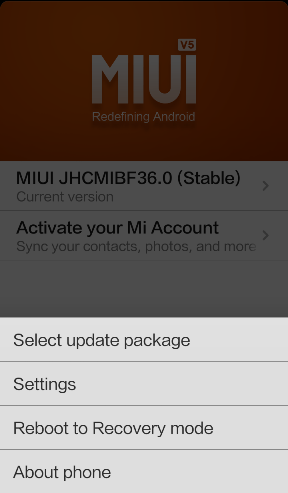 Use Updater App to select update file