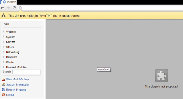 WebMin and Other Java Error