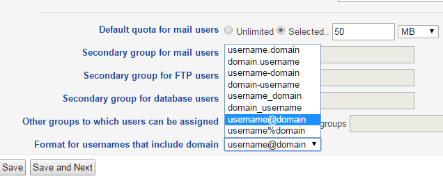 Change user.domain.com to user@domain.com
