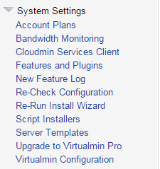 VirtualMin Default Server Settings