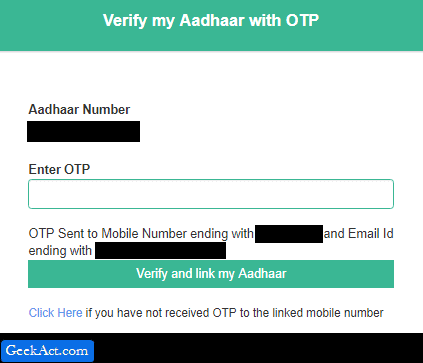enter OTP aadhaar verification