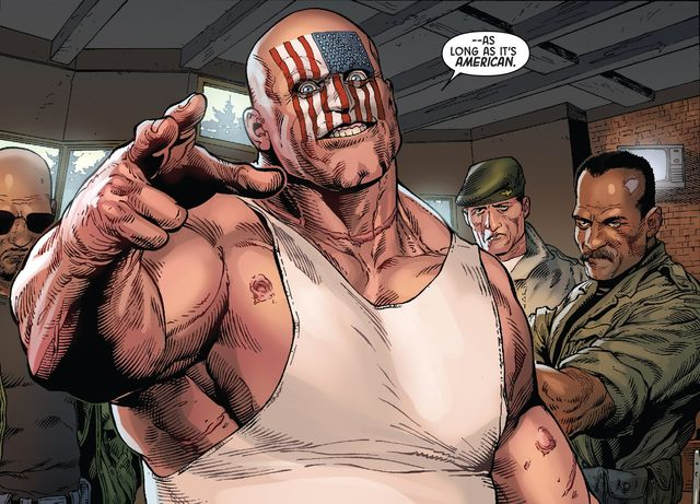 And what's more American than a shaved head and a beer belly? (Art by Steve McNiven)