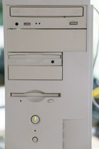 Portrait style shot of the DVD drive, Zip drive, and floppy disk drive of the Dell XPS r400