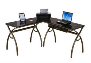 Tempered Glass L Shaped Corner Desk With Drawer