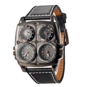 Oulm 1140 Men's Dual Time Zones Large Black Watch With Compass Thermometer