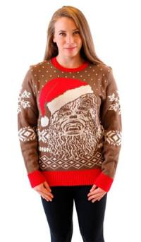Star Wars Chewbacca Big Face With Santa Hat Adult Brown Ugly Christmas Sweater