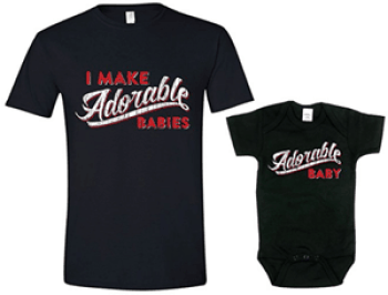 Father And Child Funny T Shirt & Onesie Set
