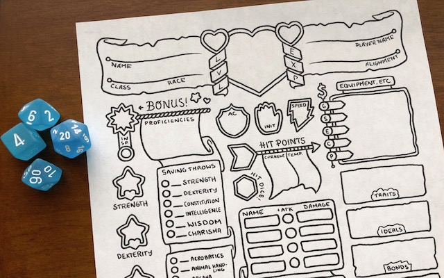 These Illustrated Sheets Give Your Character Sheets Character   Geek     If you want to add a little more whimsy to your character sheet  Kate  Leth s design is both stylish and useful     All the necessary info and none  of the