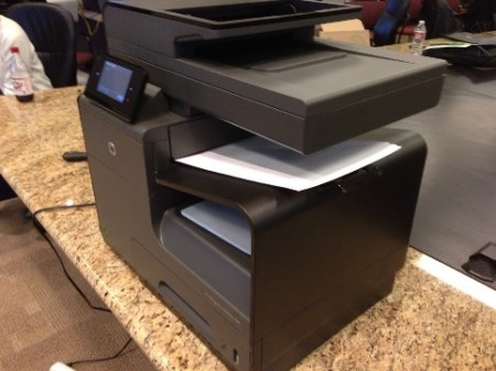 HP x576dw MFP side view