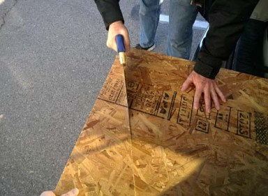 sawing the table