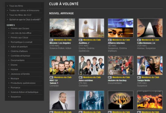 Films sur Illico Club à volonté