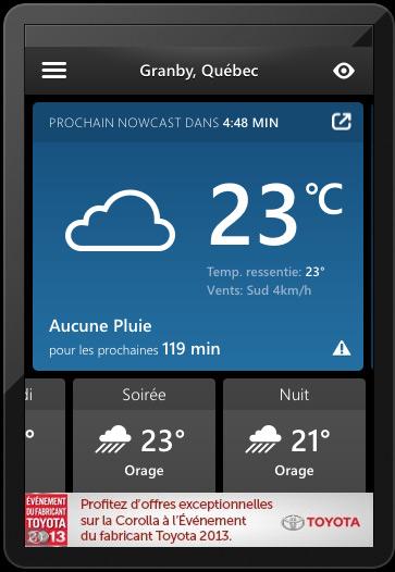 Un Nowcast de SkyMotion, affiché sur iOS