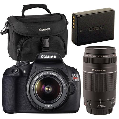 Appareil photo reflex numérique EOS Rebel T5 de Canon, objectifs 18-55 mm/75-300 mm et accessoires