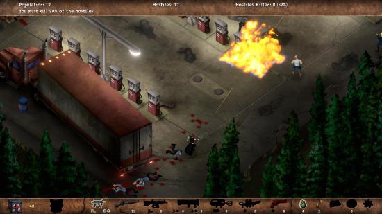 Certains éléments de l'environnement, comme une station d'essence, peuvent être utiliser pour vaincre vos ennemis.