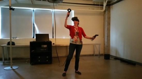 Sandy de Montigny testant le Tilt Brush de Google
