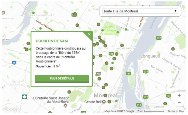 Il est possible de visualiser les jardins urbains par type. Comme les houblonnières, par exemple (capture).