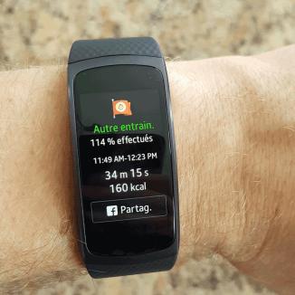 Statistique - après entrainement | Samsung Gear Fit2