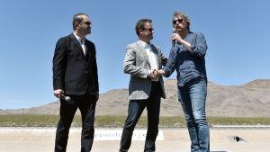 Shervin Pishevar, Rob Lloyd and BamBrogan at a Hyperloop test in May.