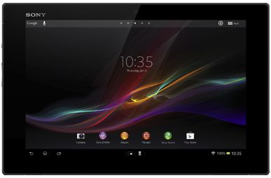 Front view of Xperia Tablet Z