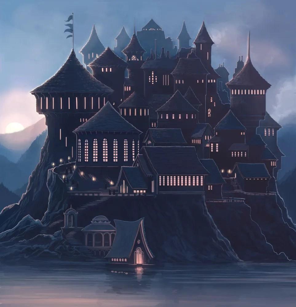 Hogwarts on book spines