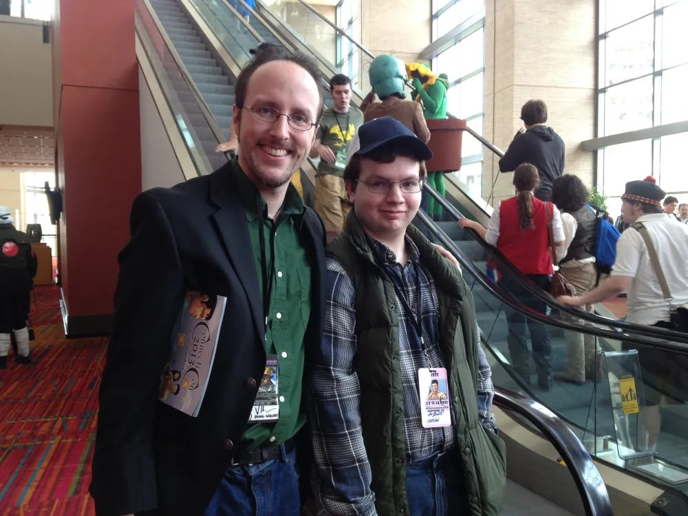 Doug Walker and the eldest son, cosplaying as Bobby From  Supernatural