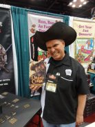 Curt Covert of Smirk and Dagger shows off a new press-your-luck game, Dread Curse, another of my favorites from the weekend.