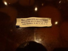 A very appropriate fortune for the weekend ... though you'll note it doesn't say anything about smooth travel plans returning home.