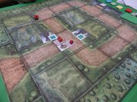 I tested out a prototype of King's Armory, a tower defense board game. Just getting started so we don't have a lot of firepower yet.