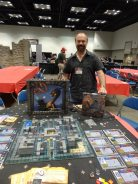 Mark Jacobs, designer of Chaostle, shows off his massive castle miniatures board game.