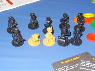 Sample miniatures for Flash Point: Fire Rescue by Indie Boards and Cards. The final versions will be the yellow plastic rather than black.