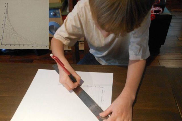 Max, making a curve out of only straight lines.