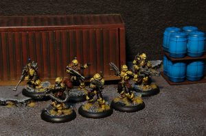 My fully-painted CCC Yellow-Jackets are one of the iconic factions in the MERCS universe. Photo and Painting by Ryan Carlson 2013