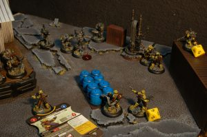 Models use any cover available to them to make them harder to hit. Photo and Painting by Ryan Carlson 2013