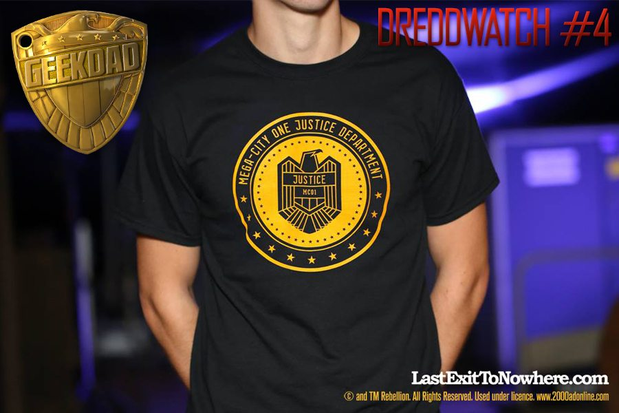 Last Exit to Nowhere's latest t-shirt - an official collaboration with 2000AD